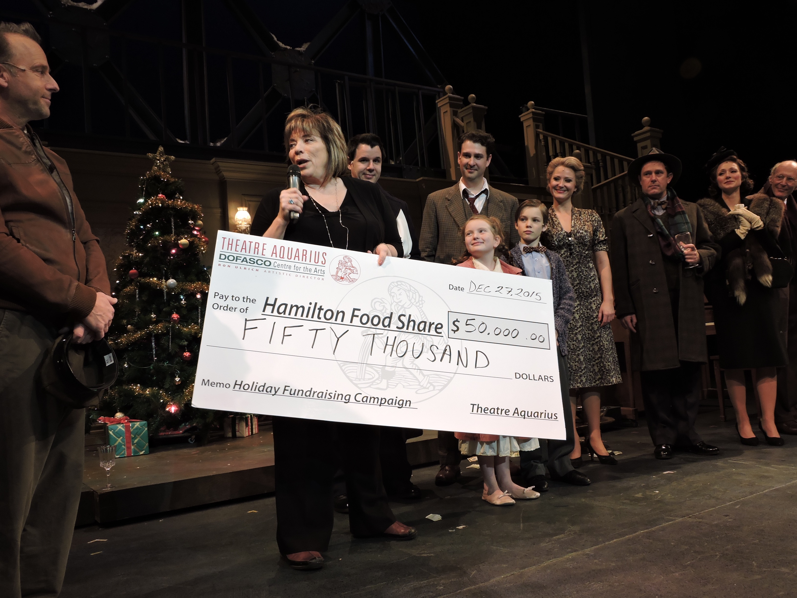 "Photo features the company of ""It's A Wonderful Life"" and Joanne Santucci, Executive Director Hamilton FoodShare"