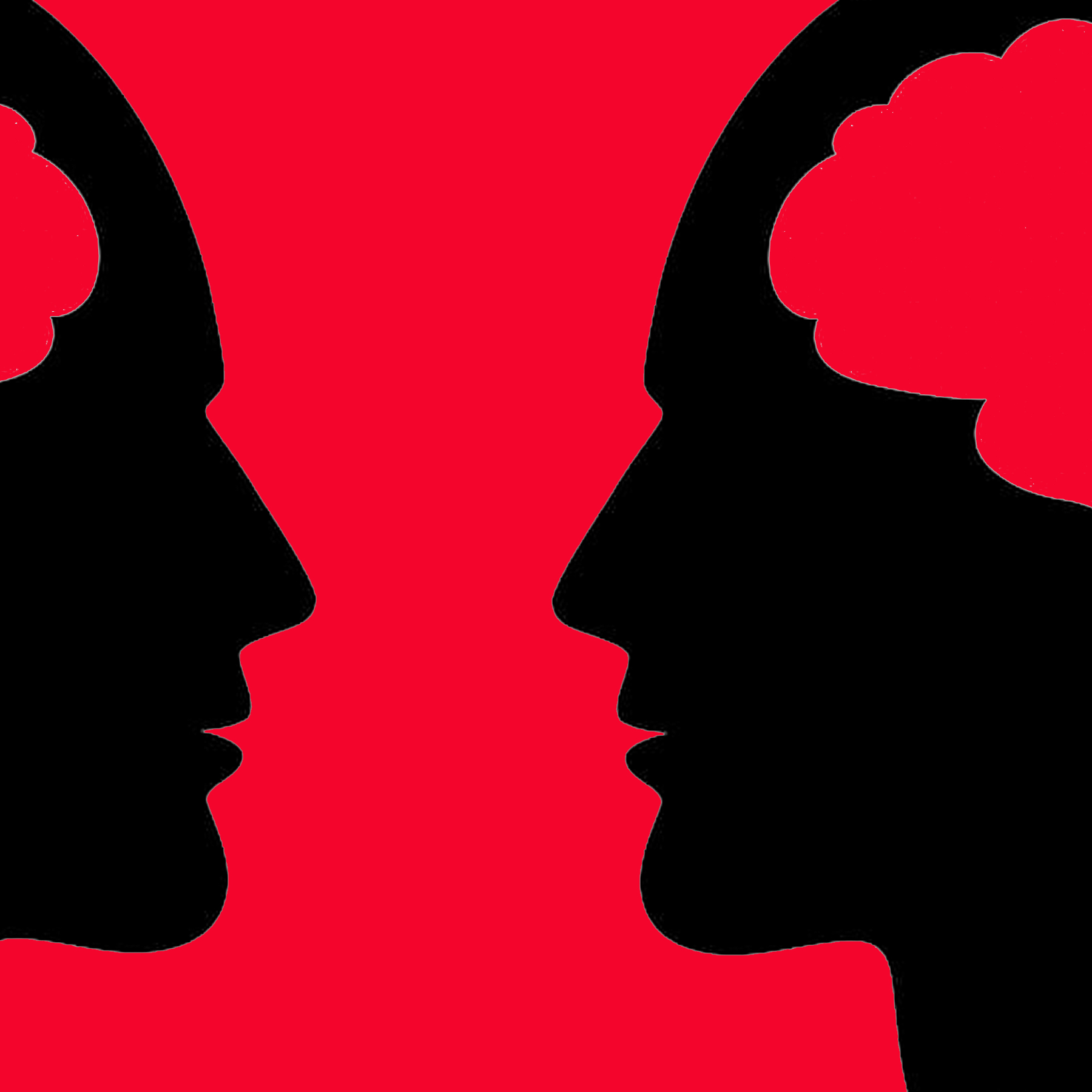 Profile of two human heads face inwards